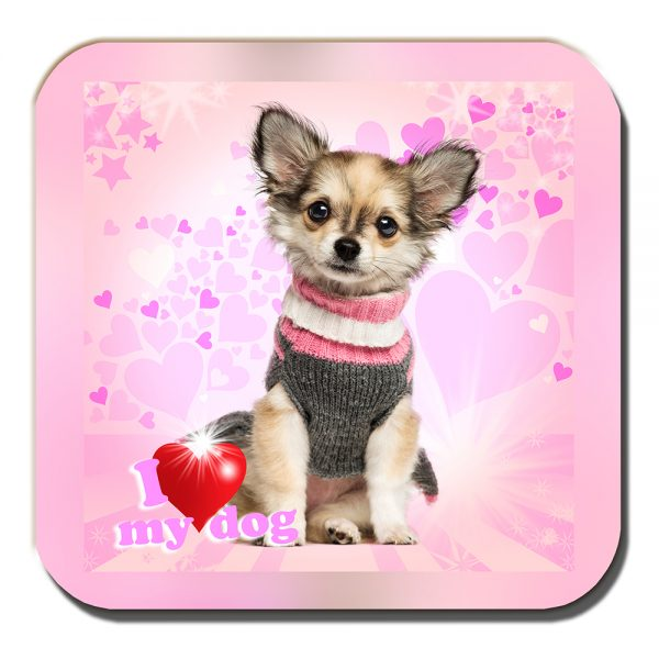 Chihuahua Coaster Fawn Knitted Sweater I Love My Dog