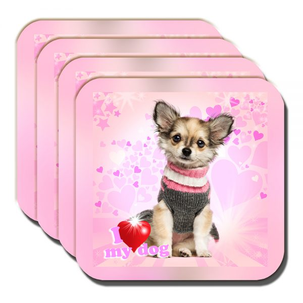 Chihuahua Coaster Fawn Knitted Sweater I Love My Dog - Set of 4