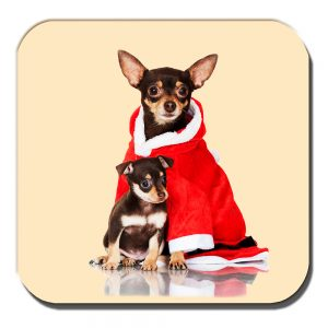 Chihuahua Coaster Adult Black Tan Pup Christmas Santa Coat