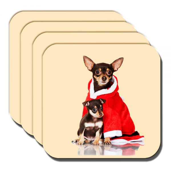 Chihuahua Coaster Adult Black Tan Pup Christmas Santa Coat - Set of 4