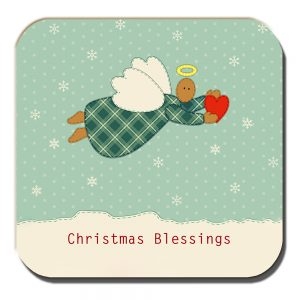 Christmas Angel Coaster Heart Snowflakes Blessings