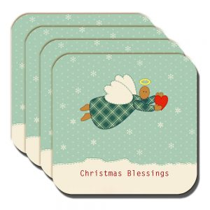 Christmas Angel Coaster Heart Snowflakes Blessings - Set of 4