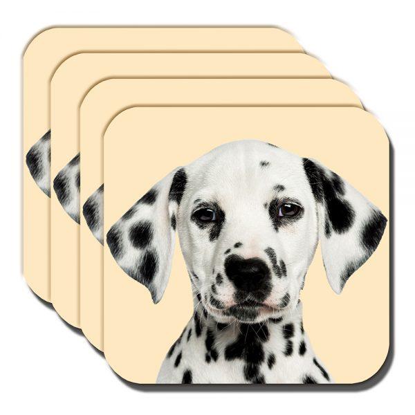 Dalmation Coaster Black White Spotty Puppy Dog Cream - set of 4