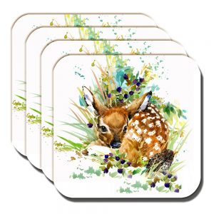 Fawn Coaster Artistic Modern Song Thrush White - Set of 4