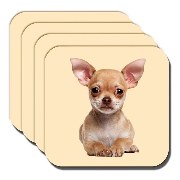 Chihuahua Coaster Fawn Puppy Dog Laying Down Acrylic Cream - Set of 4