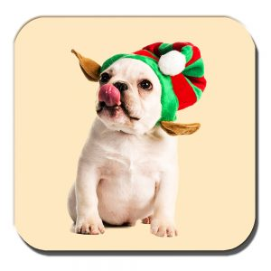 French Bulldog Coaster Fawn Puppy Christmas Elf Hat