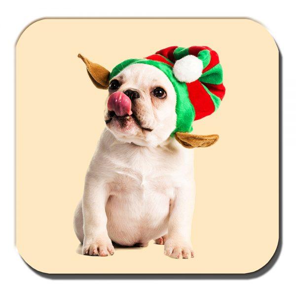 French Bulldog Coaster Fawn Puppy Christmas Elf Hat