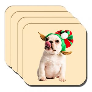 French Bulldog Coaster Fawn Puppy Christmas Elf Hat - Set of 4