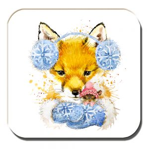 Fox Mouse Coaster Winter Woollies Artistic White
