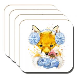 Fox Mouse Coaster Winter Woollies Artistic White - Set of 4