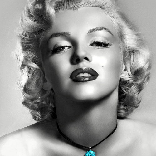Marilyn Monroe Cushion or Cushion Cover American Actress. Black and white photo image of Marilyn wearing a blue stone necklace