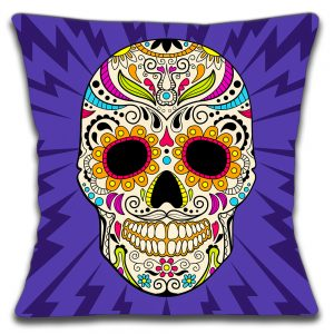 Mexican Sugar Skull Cushion or Cushion Cover Purple Multi
