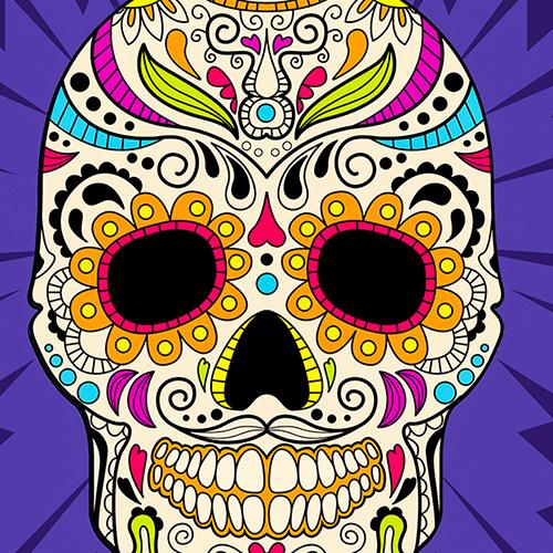 Mexican Sugar Skull Cushion or Cushion Cover Purple Multi