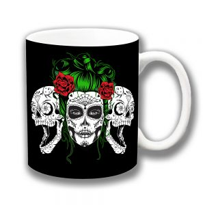 Mexican Sugar Skulls Coffee Mug Girl Day of Dead Ceramic