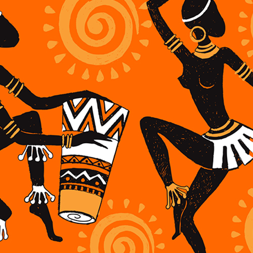 African Tribal Dancers Musicians Cushion Cover Ethnic Orange Square 16 in 40 cm