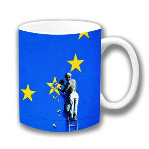 Banksy Brexit Coffee Mug! Painter on ladder chipping off a star from the Euro logo. Unique Banksy coffee mug!